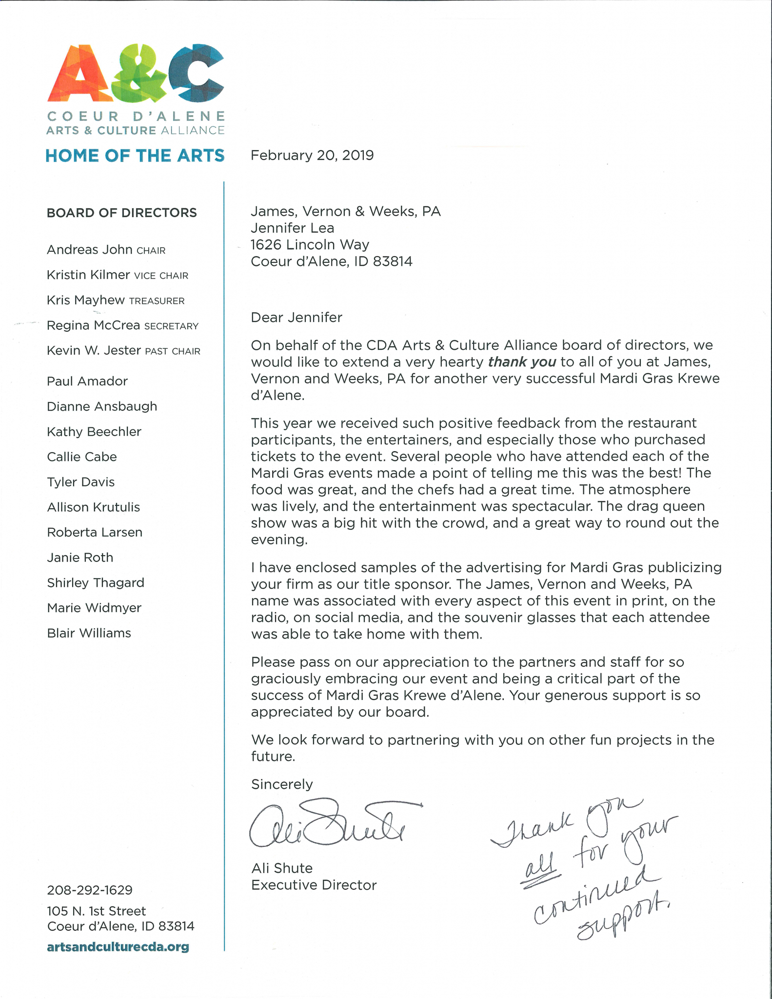 Letter from Arts and Culture CDA Thanking JVW